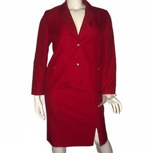 Alfred Dunner red skirt suit